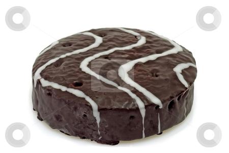 Chocolate cake stock photo, Little chocolate cake on bright background by Birgit Reitz-Hofmann