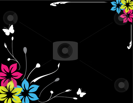 Floral Background stock vector clipart, Floral background vector illustration, Spring / Summer theme by Inge Schepers
