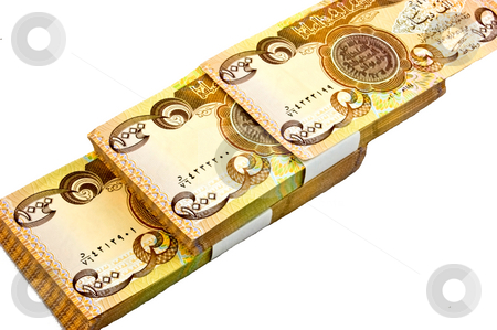 Iraq Dinar Currency Isolated stock photo, Closeup of Iraq dinar currency (1000) isolated on a white background. Stack of money is laid diagonally. by Valerie Garner