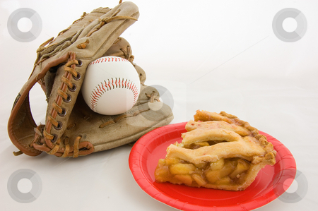 Baseball and Apple Pie stock photo, This is a closeup shot representing all American favorites baseball and apple pie.  Features a baseball mit, ball and a slice of fresh apple pie on a red plate, isolated on a white background. by Valerie Garner