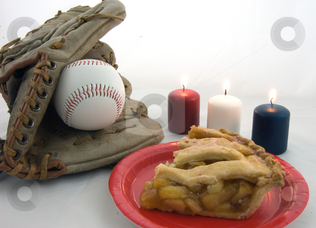 Baseball, Apple Pie, Red White and Blue Votive Candles stock photo, This all American photo features baseball mit and ball, slice of fresh apple pie on a red plate, and red white and blue votive candles. by Valerie Garner