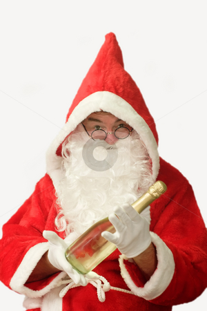 Santa with Champaigne stock photo, Male caucasian model of santa claus holding a bottle of champaigne - isolated on white background by Birgit Reitz-Hofmann