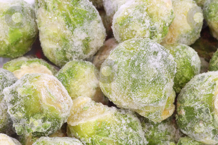 Brussels Sprouts_8 stock photo, Frozen Brussels sprouts in detail as background by Birgit Reitz-Hofmann