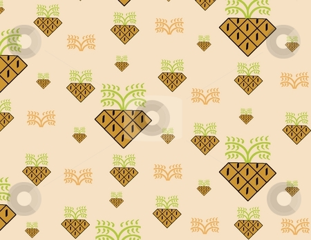 Retro Pineapple Background stock photo, Stylized pineapples on a peach colored background giving a retro feeling - a raster illustration. by Karen Carter