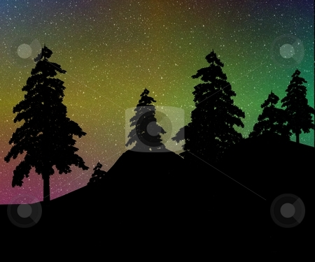 Northern Lights Over a Forest stock photo, Colorful northern lights over a silhouetted quiet pine forest - a raster illustration. by Karen Carter