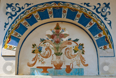 Ornaments in monastery wall stock photo, Preobrajenski Monastery near Veliko Turnovo Bulgaria (built in 14th century - collapsed through the ottoman - rebuilt in 19th century) by Desislava Dimitrova