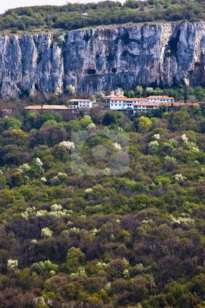 Monastery high in mountain stock photo, Patriarch monastery Sveta Troitsa near Veliko Turnovo Bulgaria - built in 10th century by Desislava Dimitrova
