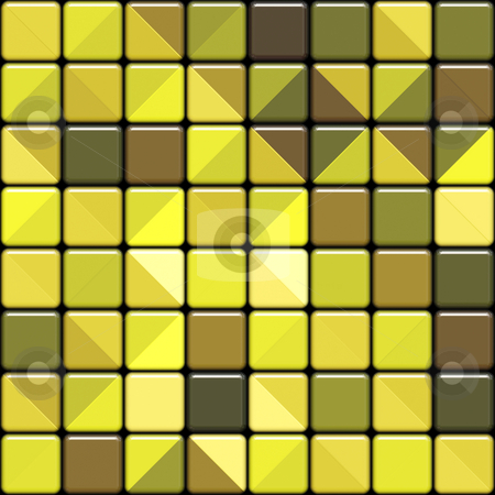 Glossy yellow square tiles stock photo, Seamlees 3d texture of yellow tiles with square motive by Wino Evertz