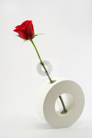 Single Red Rose in Ceramic Vase stock photo, A single long stemmed red rose in a modern glass and ceramic vase against a neutral background by Helen Shorey
