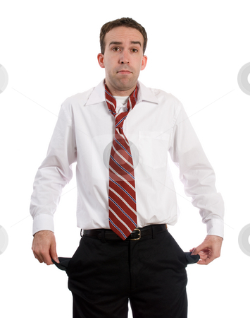 Unemployed Man stock photo, An unemployed man holding out his empty pockets, isolated against a white background by Richard Nelson