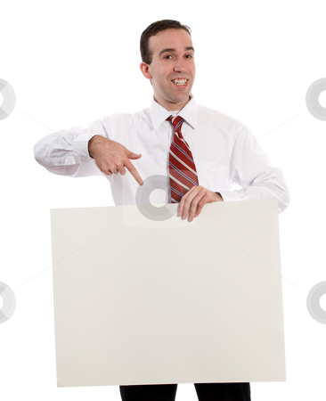 Advertisement stock photo, A young man holding up your advertisement and pointing at it, isolated against a white background by Richard Nelson
