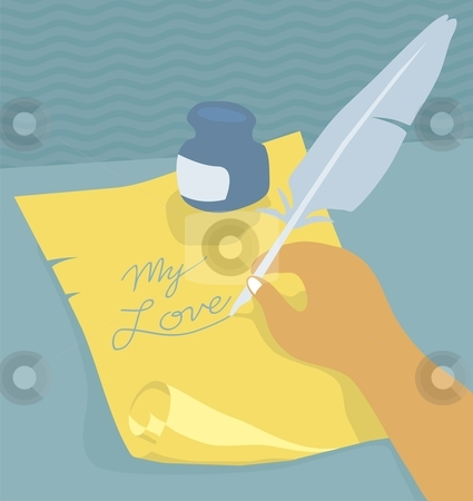 Writing love letter with quill stock vector clipart, Illustration of love letter being written using a quill by Orven Enoveso