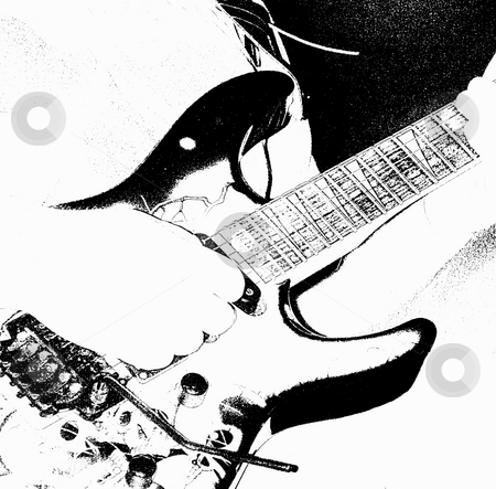 Guitar Playing (Digital Art) stock photo, Guitar Playing (Digital Art), Black and White. Hand Strumming an Electric Guitar. by Dazz Lee Photography