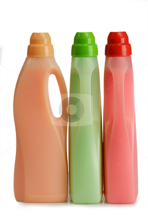 Fabric softener_1 stock photo, Bottles of laundry detergent and fabric softener on a white background by Birgit Reitz-Hofmann