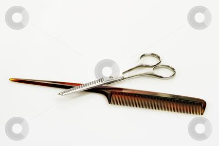 Hairbeauty_9 stock photo, Haircutting tools on bright background by Birgit Reitz-Hofmann