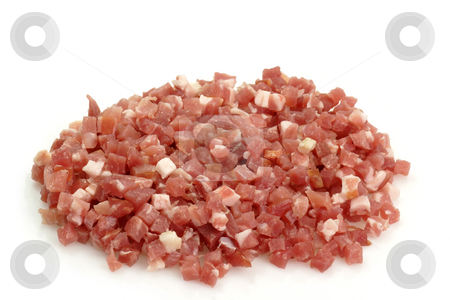 Diced bacon stock photo, Smoked diced bacon on bright background by Birgit Reitz-Hofmann