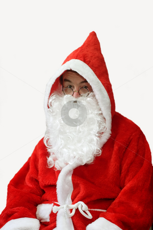 Touched Santa stock photo, Male caucasian model of santa claus - isolated on white background by Birgit Reitz-Hofmann