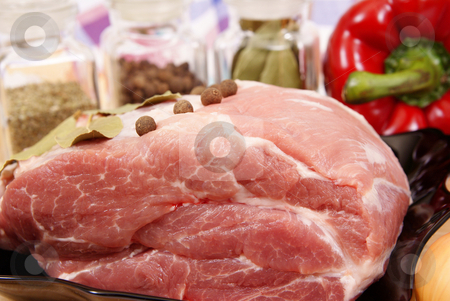 Meat stock photo, Pork with spices and peper made as background by Jolanta Dabrowska