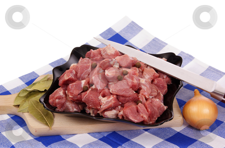 Meat stock photo, Fresh meat on plate  isolated on white background by Jolanta Dabrowska