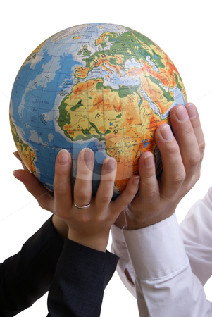 Earth stock photo, Globe supported by peoples isoalted on white background by Jolanta Dabrowska