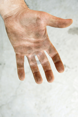 Dirty palm stock photo, Man dirty hand closeup isolated on gray background by Julija Sapic