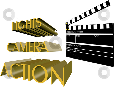 Lights camera action stock photo, Movie clapboard and directors call on white by Gary Nicolson