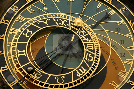 Astronomical Clock- Prague stock photo, Astronomical clock of the town hall staromestska radnice on the old town square in the stare mesto neighborhood- prague czech republic by Kobby Dagan