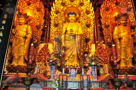 Chinese buddhist shrine  stock photo, Interior of Chinese buddhist shrine in the city of Shanghai China by Kobby Dagan