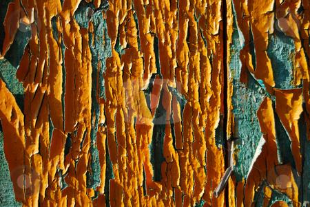 Old oil paint on wooden panel stock photo, Orange and blue old oil paint on wooden panel by Leyla Akhundova