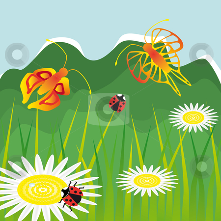 Landscape with daisy flowers stock vector clipart, Landscape with daisy flowers butterfly and ladybug by Karin Claus
