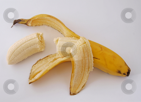 Peeled banana. stock photo, Peeled banana ready to eat as one of the five a day. by Ian Langley