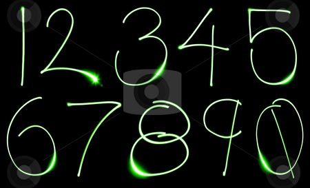 Neon Number Set stock photo, A set of numbers made from motion blurred light. by Travis Manley
