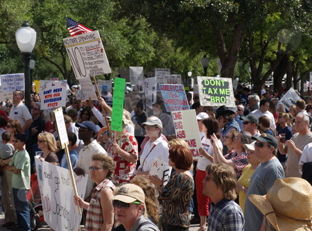 Crowd at Texas tea party demonstration  stock photo, Crowd and signs at Texas Tea  Party on Capitol Steps, Austin 04/15/09 by GB Tittle