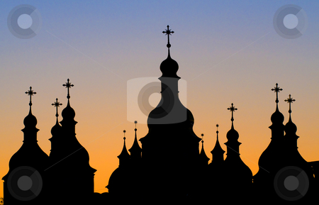 Kiev church stock photo, Silhouette of church in Kiev the capital of Ukraine by Kobby Dagan