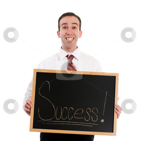 Success stock photo, A young teacher is holding up a chalk board with the word success, isolated against a white background by Richard Nelson