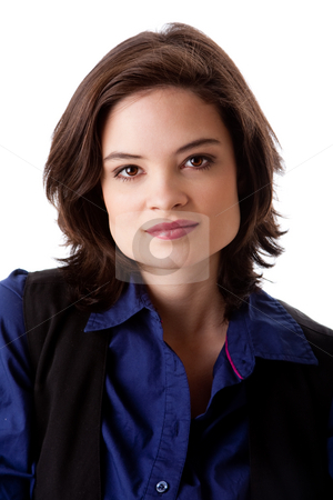 Face of beautiful business woman stock photo, Face of a beautiful young caucasian business student woman in blue shirt, isolated by Paul Hakimata