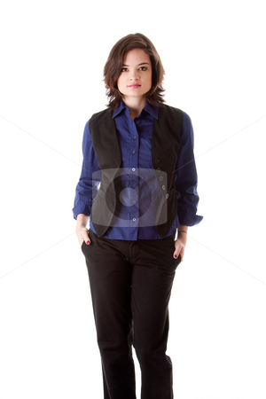 Young business woman standing stock photo, Beautiful young caucasian brunette business student woman standing with hands in pocket, wearing blue blouse and black jacket, isolated by Paul Hakimata