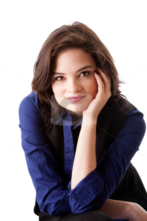 Face of beautiful business woman stock photo, Face of a beautiful young caucasian business student woman in blue shirt leaning head on hand, isolated by Paul Hakimata