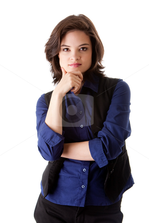 Young business woman stock photo, Beautiful young caucasian brunette business student woman arm crossed and hand on chin, wearing blue blouse and black jacket, isolated by Paul Hakimata
