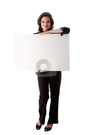 Young business woman with white board stock photo, Beautiful young caucasian brunette business student woman standing holding a white blank board, isolated by Paul Hakimata