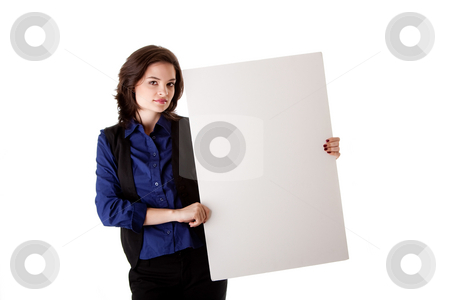 Young business woman with white board stock photo, Beautiful young caucasian brunette business student woman standing besides and holding a white blank board, isolated by Paul Hakimata