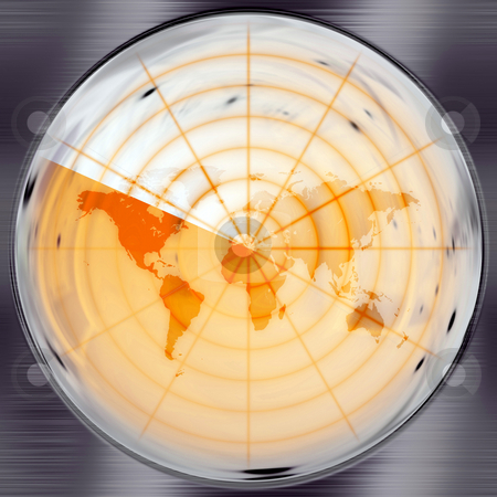 World Radar stock photo, The world map in a radar screen - blips can be added easily anywhere they are needed. by Todd Arena