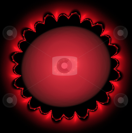 Red mandala fractal stock photo, Fiery red and black circular fractal for background or creative design by Helen Shorey