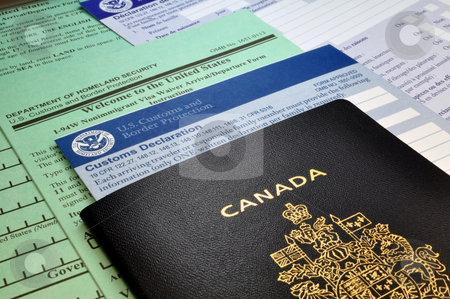Arriving in the USA: Canadian Passport and USA Customs forms stock photo, Passport ans Customs forms at border point of entry (USA) by Fernando Barozza
