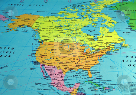 North America map stock photo, North America map, includes names of many cities and references by Fernando Barozza