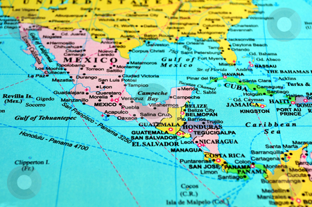 Central America map. stock photo, Central America map, includes names of many countries, cities and references by Fernando Barozza