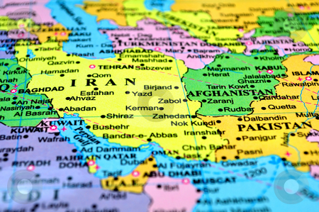 Map of Iran, Afghanistan stock photo, War zone. Map of Iran and Afghanistan. by Fernando Barozza