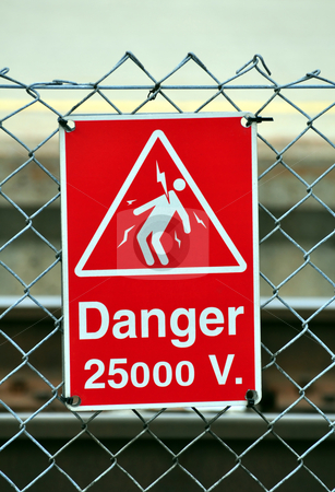 Danger sign stock photo, High voltage danger sign by Fernando Barozza