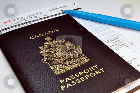Canadian passport and Customs declaration form stock photo, Travel: returning to Canada. Passport and Customs form. by Fernando Barozza