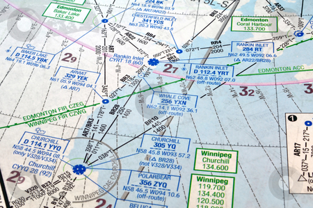 Air navigation chart  stock photo, Air navigation map: airways, waypoints and radio aids by Fernando Barozza